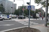 Křižovatka ulic Mánesova a Lidická v Českých Budějovicích.