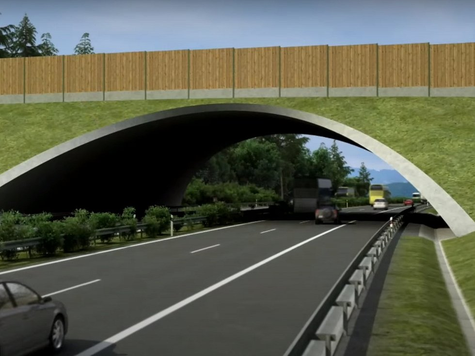 Most má převést kousek od Roudného přes dálnici biokoridor a lesní cestu.