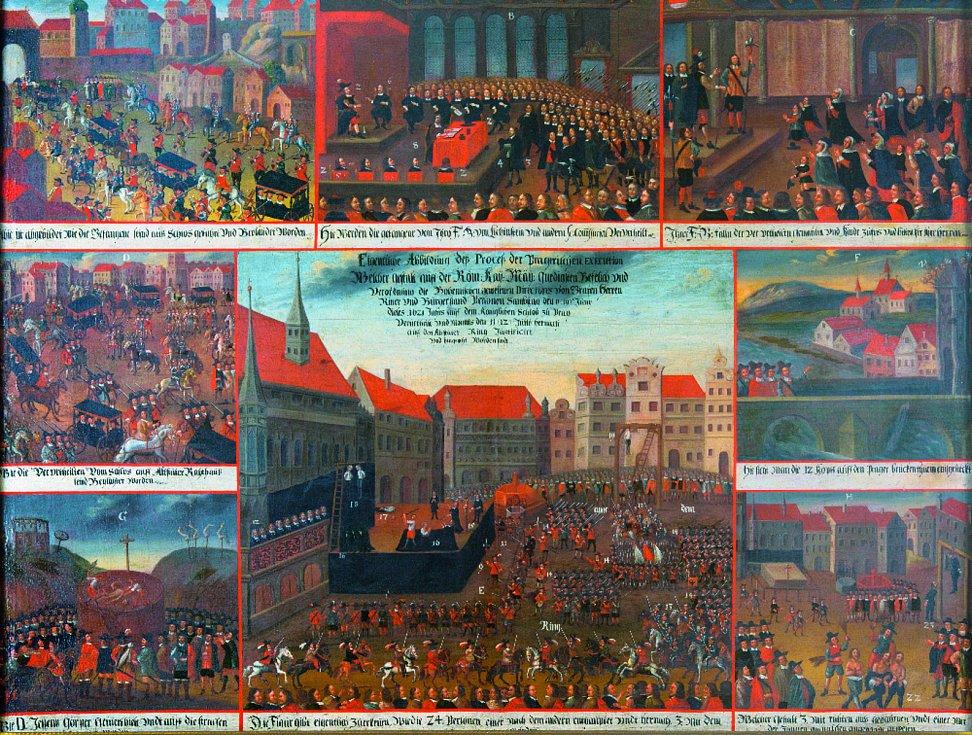 Anonymní malíř - Popravy vůdců českého stavovského povstání na Staroměstském náměstí v Praze dne 21. června 1621 a související výjevy (zámek Rychnov na Kněžnou, soukromá sbírka) – asi v roce 1621 nebo krátce poté, olej na plátně.