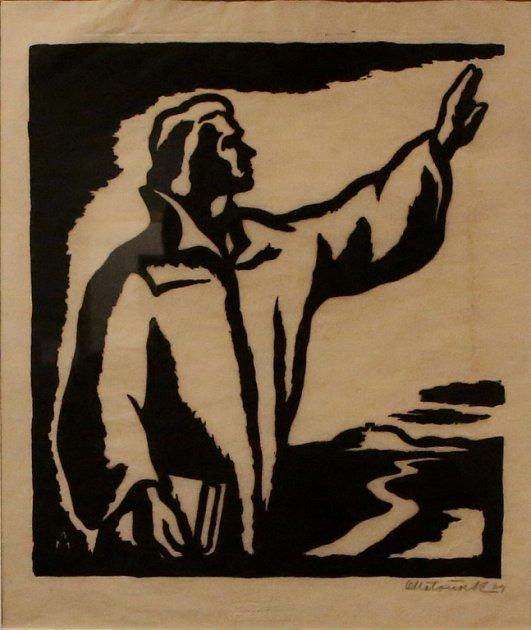 Zajímavá a propracovaná je výstava prací Karla Štěcha a Oty Matouška, jejichž dílem Alšova jihočeská galerie připomíná husity a Jana Husa. Trvá do 8.listopadu. Na snímku linoryt Oty Matouška snázvem Jan Hus, 1939.