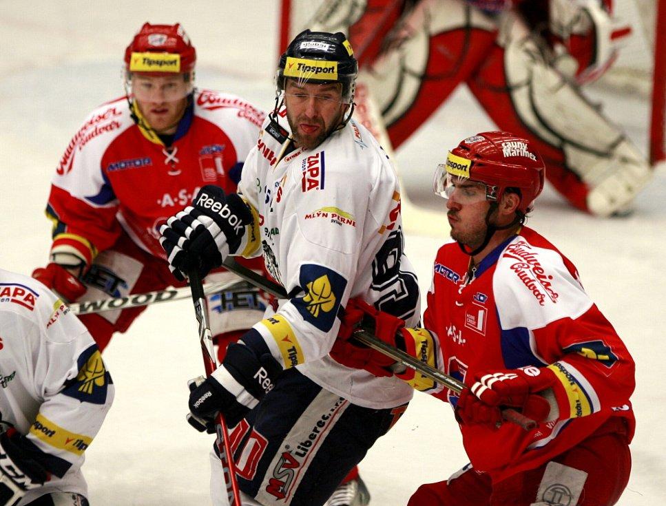 Utkání 3. kola playoff hokejové extraligy mezi HC České Budějovice a HC Bílí Tygři Liberec.