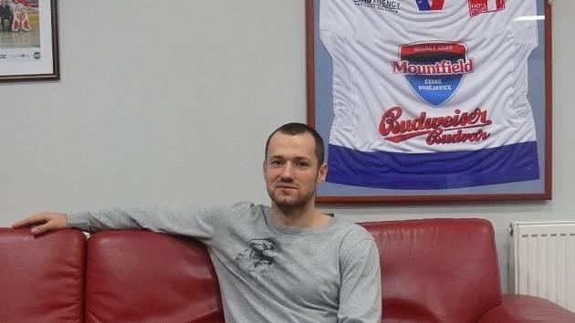 Tomáš Harant v kabině HC Mountfield