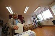 Ve Strážkovicích se volilo v knihovně.
