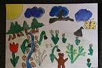 Žáci 2.A lišovské základní školy kreslili jaro. Na snímku obrázek Filipa Vaňka.