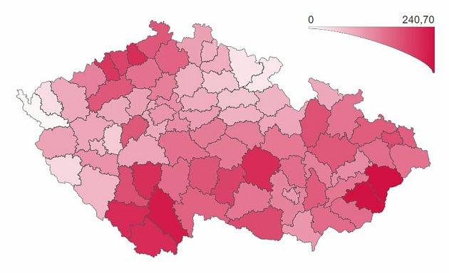 Počet osob spotvrzenou nákazou COVID‑19 za posledních 7dní (celkem + přepočet na 100000obyvatel).