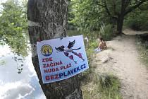 Vyhlášená místa, na nichž je možné koupat se oficiálně  bez plavek, v jižních Čechách chybějí. Své místo na slunci si však nudisté najdou i v našem kraji. Snímek je  z rybníku Hliník v lokalitě  U Hada na kraji Českých Budějovic