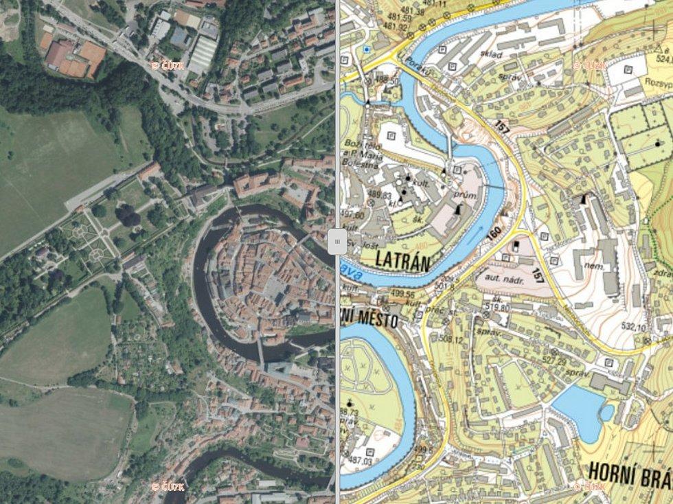 Na Geoportálu Jihočeského kraje najdete také krajské ortofotomapy a místopisné mapy, na snímku je Český Krumlov.