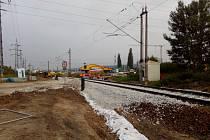 Rekonstrukce železničního přejezdu v Kněžských Dvorech na okraji Českých Budějovic.
