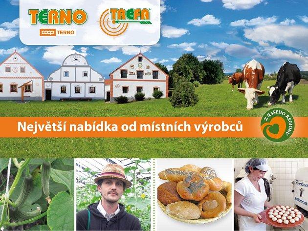 Regionální výrobky či tradiční české potraviny nakoupíte v supermarketech Terno a Trefa.