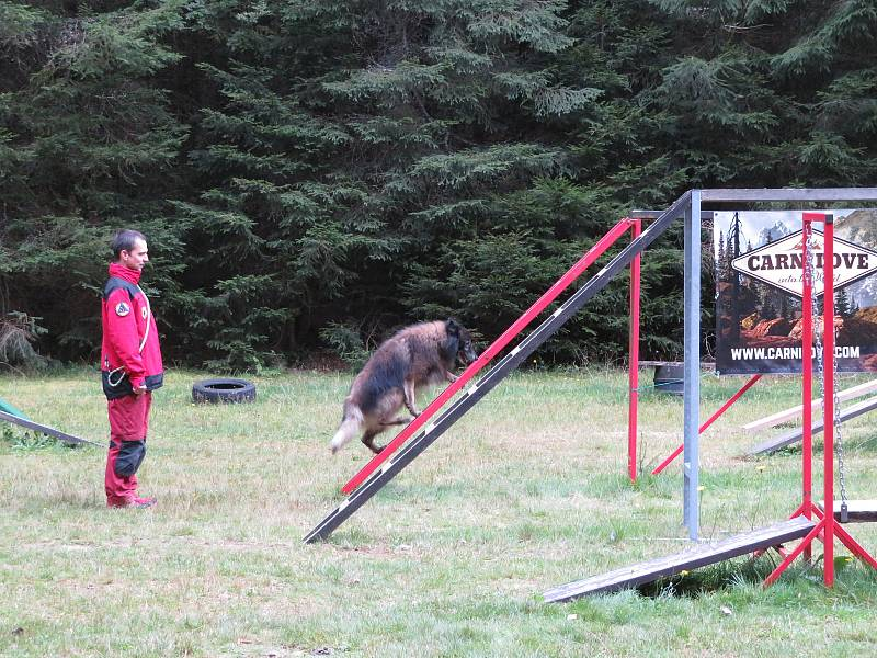 Ve výcvikovém středisku Spáleniště Jihočeské záchranné brigády kynologů se v sobotu 18. září uskutečnil výběrový závod na mistrovství republiky - Memoriál Petra Staňka.