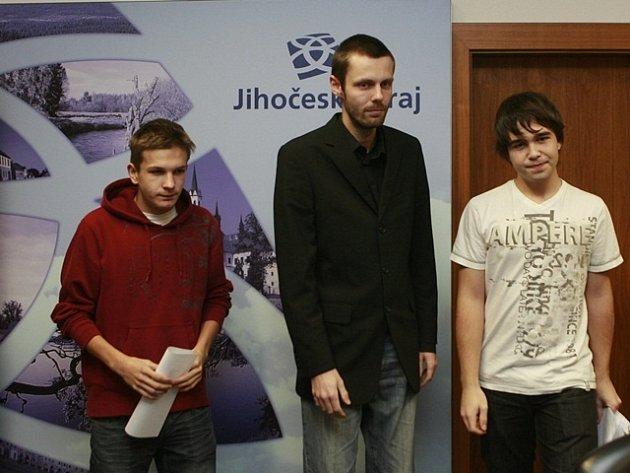 Zástupci protestujících studentů - Jan Flíček, Šimon Heller a Dominik Hořejší.