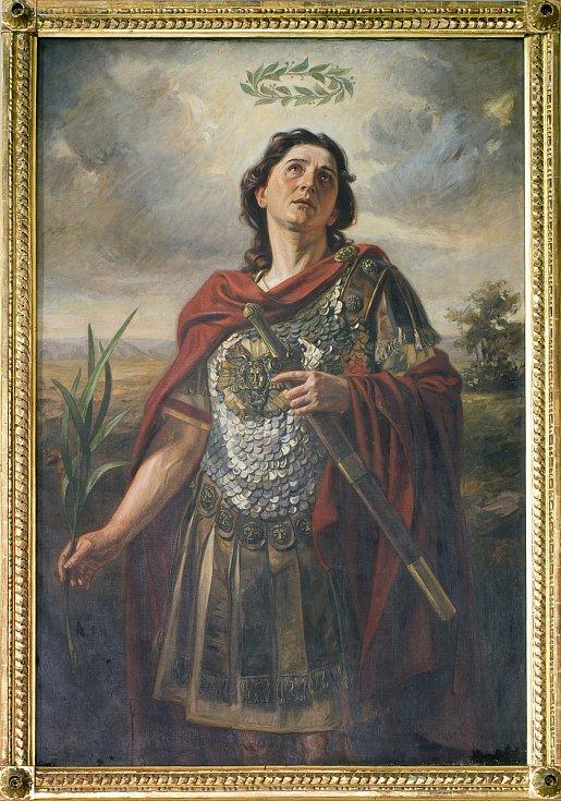 Obraz sv. Auraciána od českobudějovického malíře Františka Bohumila Doubka zroku 1912, umístěný vpravé boční kapli českobudějovické katedrály sv. Mikuláše.