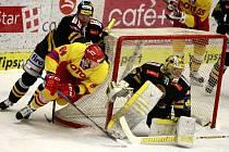 Utkání  Tipsport hokejové extraligy mezi HC Mountfield České Budějovice a HC Verva Litvínov. Domácí celek nastoupil ve slavnosních retro dresech při příležitosti výročí 85 od založení klubu