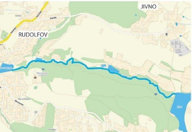 Rudolfovské údolí na mapě.