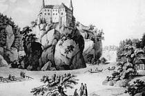 Ztracené romantické scenérie vltavského údolí pod hradem, jakož i zaplavené vsi, osady či samoty připomíná kniha Orlík z edice Zmizelé Čechy. Na snímku hrad od severu, kolem roku 1800. Kolorovaný lept K. Postla podle kresby L. Janschy.