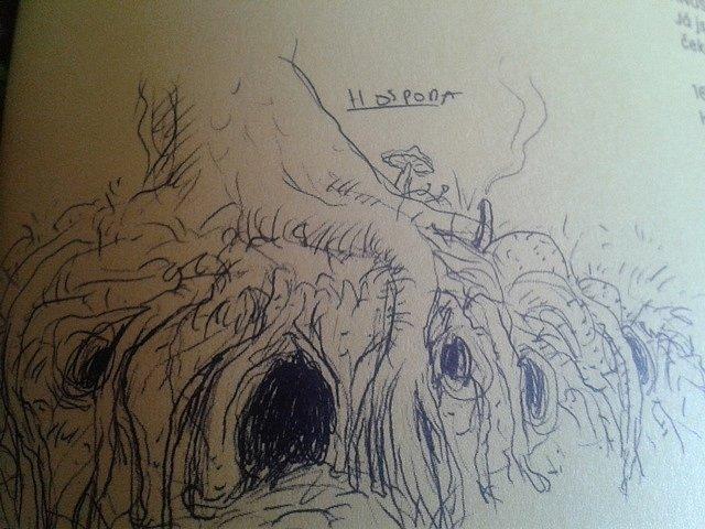 K filmu Kuky se vrací vyšla kniha s ukázkami scénáře. Na stránkách je tato kresba hospody v kořenech stromu.