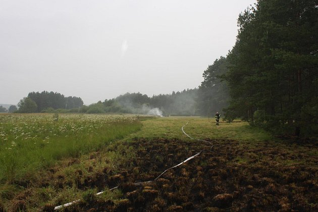 Hasičům dal zabrat sobotní požár louky a lesa uJílovic.