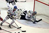 Nedělní zápas playout extraligy ledního hokeje mezi týmy HC Mounfield České Budějovice a HC Geus Okna Kladno.