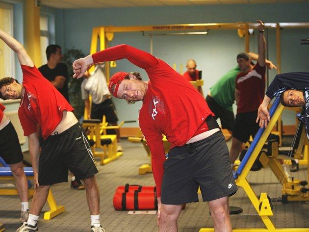 Hokejisté HC Mountfield v letní období tvrdě trénují (na snímku v popředí obránce Lukáš Poživil).  V příštím ročníku extraligy chtějí rozhodně dopadnout lépe než loni.