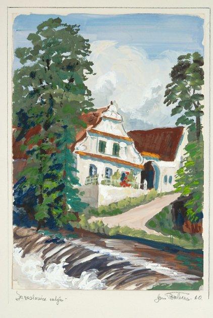Obraz mlýna vJaroslavicích, který namaloval Joan Brehms.