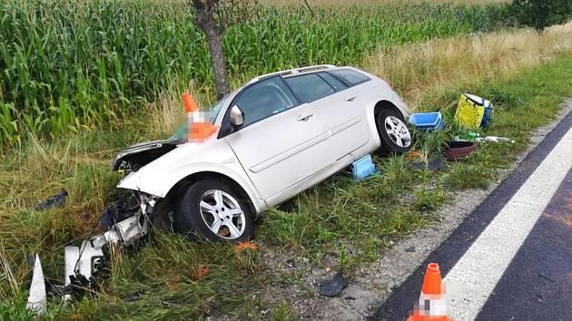 Sobotní nehoda v Břilici, při níž zemřeli tři lidé.