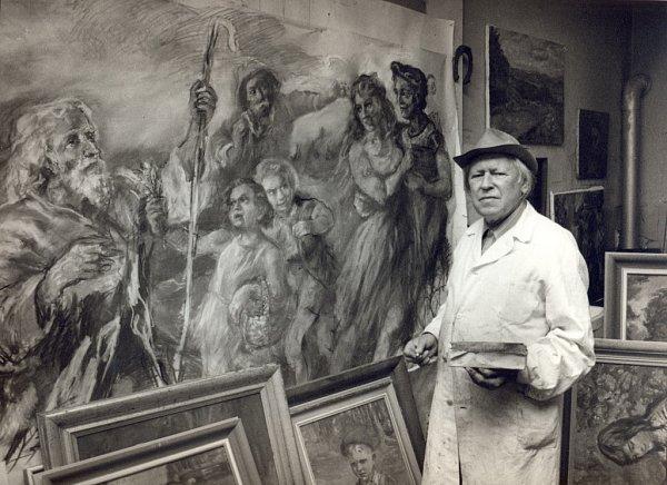 Písecký malíř František Roman Dragoun ve svém ateliéru, snímek zroku 1988.