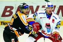 Litvínovský Peter Jánský (vlevo) blokuje Lukáše Bolfa. Hokejisté HC Mountfield vyhráli na severu Čech 6:3 a opět se vrátili do čela extraligy. V úterý hostí Jihočeši od 17.30 Energii Karlovy Vary.