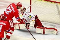 Utkání  Tipsport hokejové extraligy mezi HC Mountfield České Budějovice a HC Oceláři Třinec.