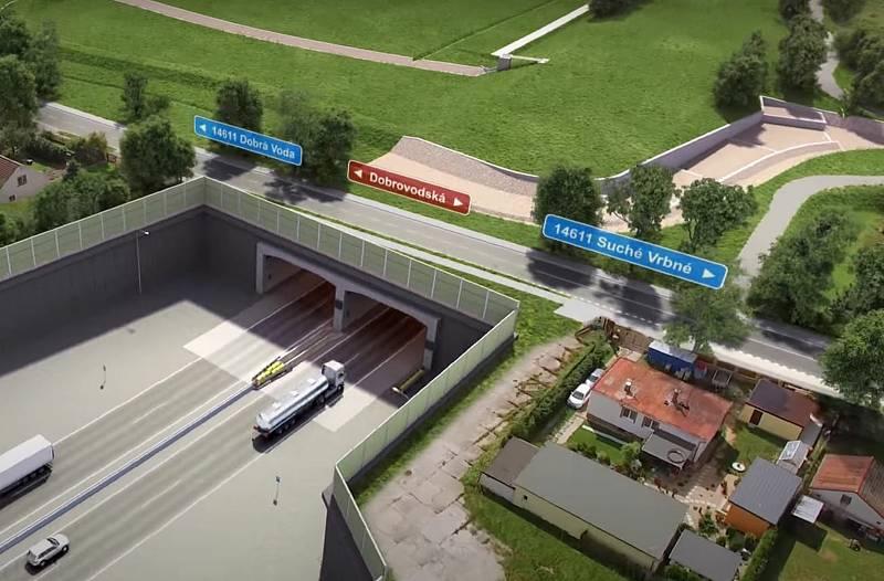 Vizualizace D3. Zaústění tunelu Pohůrka pod Dobrovodskou ulicí.