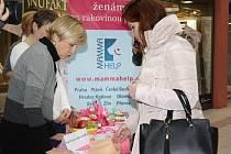 Rakovina prsu byla jedním z témat osvětové akce v českobudějovickém IGY Centru. Zástupkyně Mamma HELP centra tu radily, jak správně postupovat při samovyšetření.