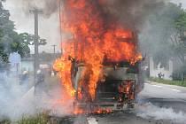 Ve Štěpánovicích shořel kamion.