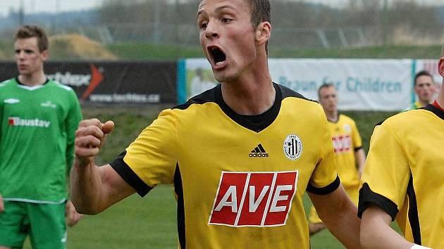 Adam Klavík měl ze svého gólu v zápase s K. Vary nelíčenou radost.