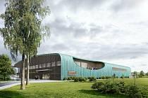 Projekt nového zimního stadionu v Hluboké nad Vltavou. Vizualizace: Ateliér 8000