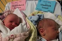 19. února se rodina Věry a Petra Ondřichových z Velešína rozrostla. K tříleté Vendulce přibyla dvojčata Barborka (3,24 kg) a Tomášek (3,61 kg). Zdravá dvojčátka spatřila světlo světa v českobudějovické porodnici.