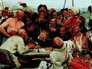 Alšova jihočeská galerie otevřela na Hluboké výstavu Ilja Repin a ruské umění. Nabízí přes 100 prací, potrvá do 27. září. Na snímku Repinův obraz Záporožští kozáci píší dopis tureckému sultánovi, zápůjčka z Treťjakovské státní galerie.