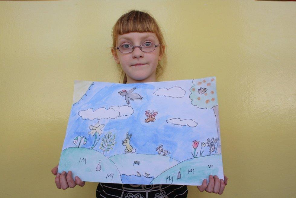Žáci 2.A lišovské základní školy kreslili jaro. Na snímku obrázek Terezy Kobylkové.