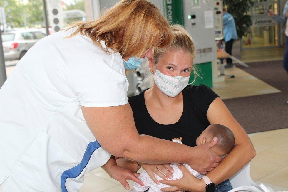 K Národnímu týdnu kojení si maminky mohly v terminále českobudějovické nemocnice prohlédnout pomůcky ke kojení, také si mohly vyzkoušet pomocí  panenky správnou techniku kojení.