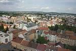 Z oken prezidentova pokoje je úchvatný výhled na Budějovice.