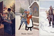 Vedle vánočních motivů zdobily pohlednice, které se posílaly v rozmezí let 1914 a 1918, i motivy válečné.