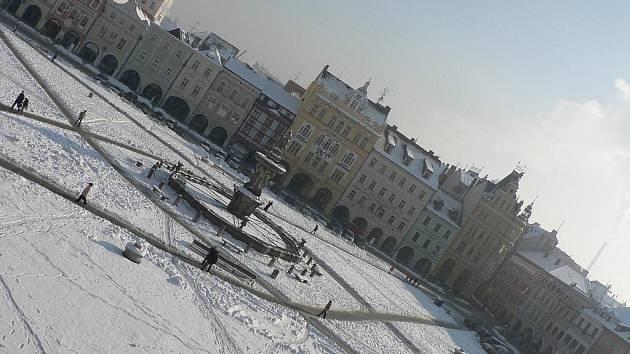 Zima v Českých Budějovicích. Ilustrační foto.