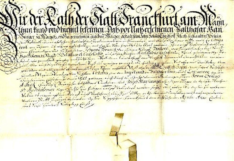 Rodný list Johanna Christopha Haana, vystavený městskou radou ve Frankfurtu nad Mohanem