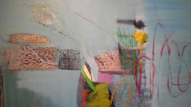 Tři umělci nyní vystavují ve vltavotýnské galerii U Zlatého slunce. Na snímku obraz Zdeny Höhmové.