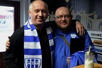 Šéf FC Táborsko Jiří Smrž s tiskovým mluvčím Lubošem Dvořákem.