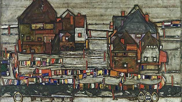 Schieleho Domy s barevným prádlem.