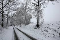 Sníh, který napadl v úterý 1. března na Doudlebsku.