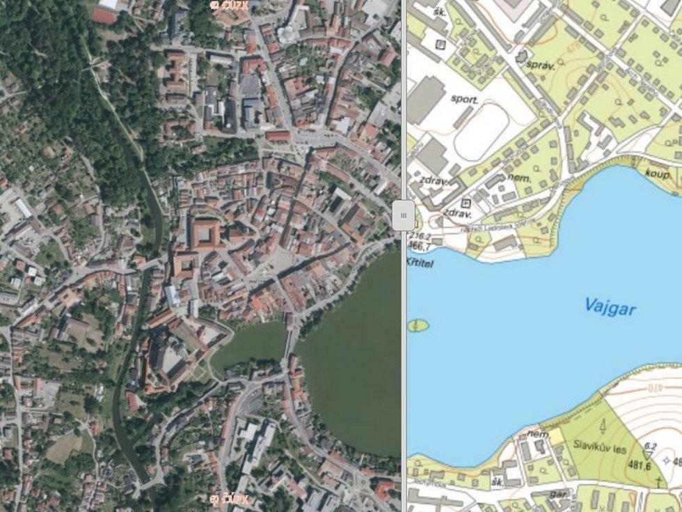 Na Geoportálu Jihočeského kraje najdete také krajské ortofotomapy a místopisné mapy, na snímku je Jindřichův Hradec.