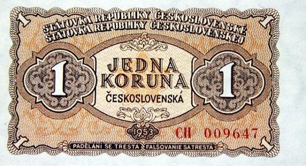 Peníze, které se používaly po měnové reformě vroce 1953.