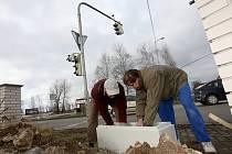 Oprava semaforu na Dlouhé louce v Českých Budějovicích.