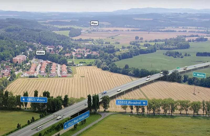 Vizualizace D3. Estakáda u Vidova bude 792 m dlouhá a bude mít 19 polí.