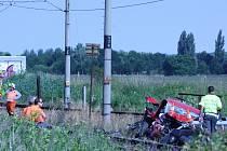 Nehoda na železničním přejezdu v Hrdějovicích